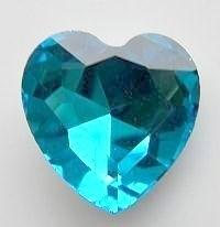 Rhinestone hart Aqua Blauw 27mm