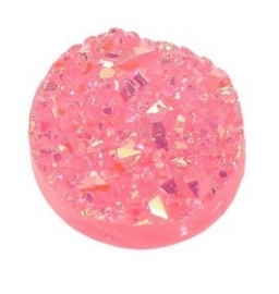 Druzy Resin cabochon rond  Roze 12mm