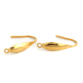 "RVS Oorhaakje ""drop""  gold plated (2st)"