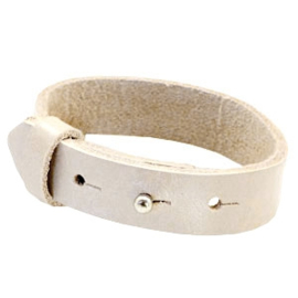 Cuoio Armband Leer 15mm Metallic White