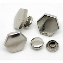 Rivet Studs Hexagon Silvertone (2st.)