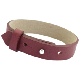 Cuoio Armband Leer 15mm Aubergine Port Red
