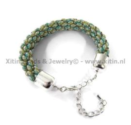 Xitin super duo duets Armband Turquoise Green/Yellow