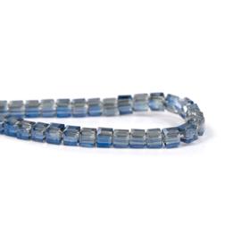 Kristal Glas Kubus kralen Blue Transparant 3mm (per streng)