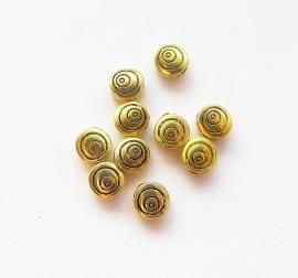 Kraal metaal plat rond cirkels goud 6mm