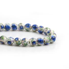 Keramiek Kralen met Blauwe Bloemen (streng)