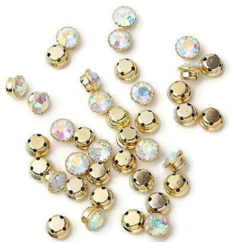 Mesh strass Crystal AB rond 6mm Gold Plated (10st.)
