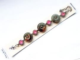 Chunk Armband zilverkleur met Roze strass