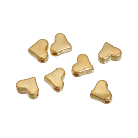Kraal metaal hartje 7x6mm Gold Plated (10 st.)