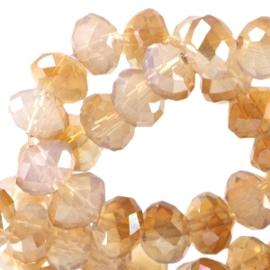 Top Facet Rondel Silk White Opal - Rose Gold Diamond Coating  4x3mm (per streng)