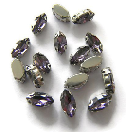 Navette strass Amethyst Paars  5x10mm Silver Plated (5st.)
