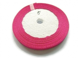 No.5 Fuchsia Satijnlint 6mm (per rol)
