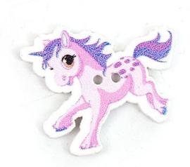 Knoop Hout Eenhoorn Pony Paars Roze