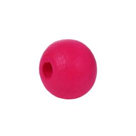 GROOTVERPAKKING Houten ronde kraal Hot Pink 8mm (ca 500 stuks)