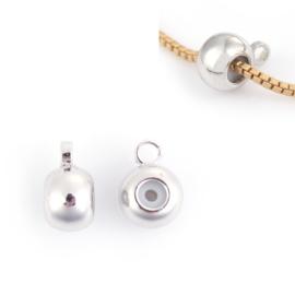 Schuifslot / kraal voor koord of ketting met oogje Silver Tone