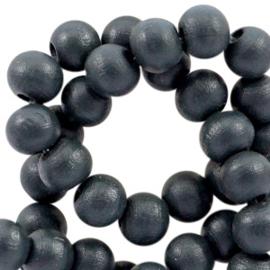 Houten ronde kraal Jet Black 8mm (ca 40 stuks)
