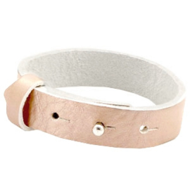 Cuoio Armband Leer 15mm Metallic Vintage Rose