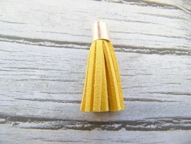 Kwastje Suede Geel (goudkleur kapje)