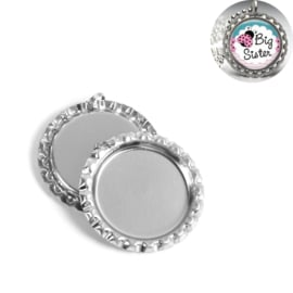 Cabochon hanger Bottle cap Silver Tone 25mm