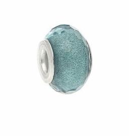 Resin kraal Pandora Style Aqua Blue glitter
