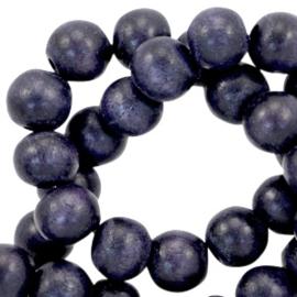 Houten ronde kraal Dark Violet Blue  5 - 6mm (ca 72 stuks)