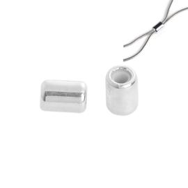 Schuifslot voor koord of ketting Cilinder Silver Plated