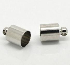 Eindkapje Silver Tone  fits 6mm (2st)