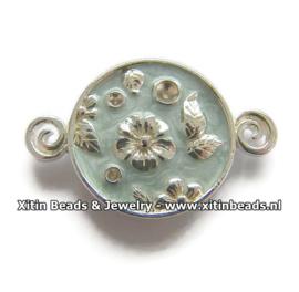 Connector Dolce Luna Emaille Bloem en Blaadjes Turquoise Blauw