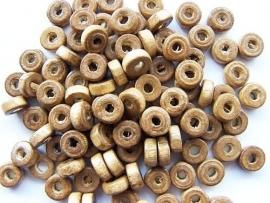 Houten rondelle kraal Bruin 8mm (100 stuks)