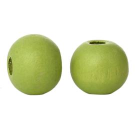 Houten ronde kraal Grass Green 8mm (ca 40 stuks)