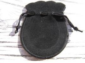 Fluwelen Buideltje Zwart 9x7,5cm