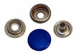 Leder drukknopen Kobalt Blauw 15mm dia (10 sets)