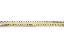 Platte schakelketting gold plated 3x2mm