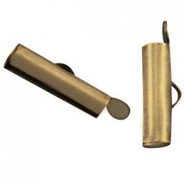 DQ metaal schuif eindkap 15.5 x 6 mm Antiek Brons (set 2 st.)