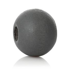 GROOTVERPAKKING Houten ronde kraal Dark Grey 8mm (ca 500 stuks)