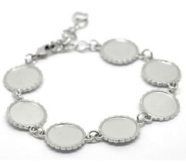 Basis armband met 7x setting voor 16mm cabochon.
