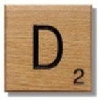 Houten Scrabble Letter D