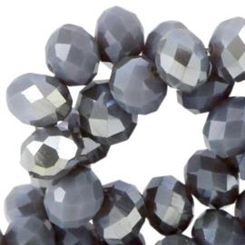 Top Facet  Kralen Blue Shade Topaz- Half Diamond Gold Coating  8x6mm (per streng)