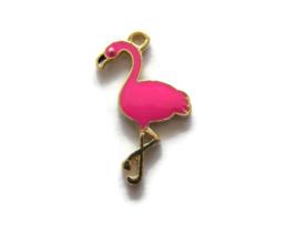 Bedel Flamingo Goud met Roze Emaille