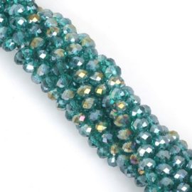 Facet Rondelle Peacock Green AB 3x2mm (per streng)