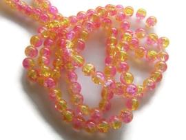 Crackle kraal geel / licht roze (PER STRENG)