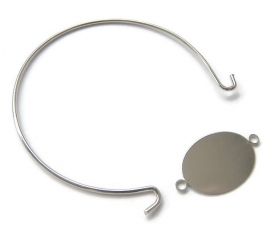 Bangle Silvertone met Ovale Connector (fits 25x18mm)