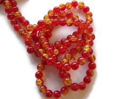 Crackle kraal geel / Rood (PER STRENG)