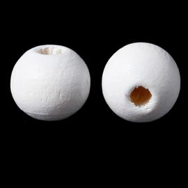 GROOTVERPAKKING Houten ronde kraal Wit 8mm (ca 500 stuks)