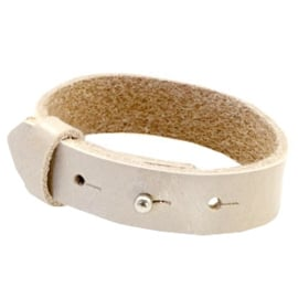 Cuoio Armband Leer 15mm Metallic Beige