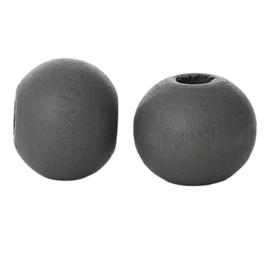 Houten ronde kraal Dark Grey 8mm (ca 40 stuks)