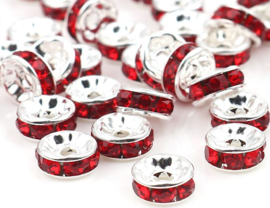 Rhinestone rondelle spacers Rood 7.5mm (10 st.)