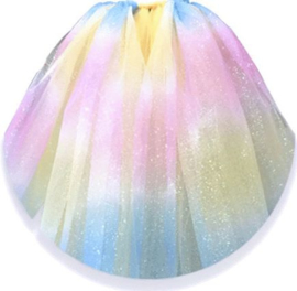 Tule GLITTER Rainbow Blue Pink Yellow 15cm breed 9 meter