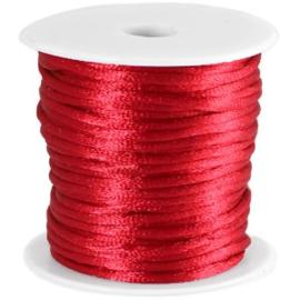 Satijnkoord Donker Rood 1mm dik (per meter)