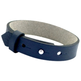 Cuoio Armband Leer 15mm Crown Blue
